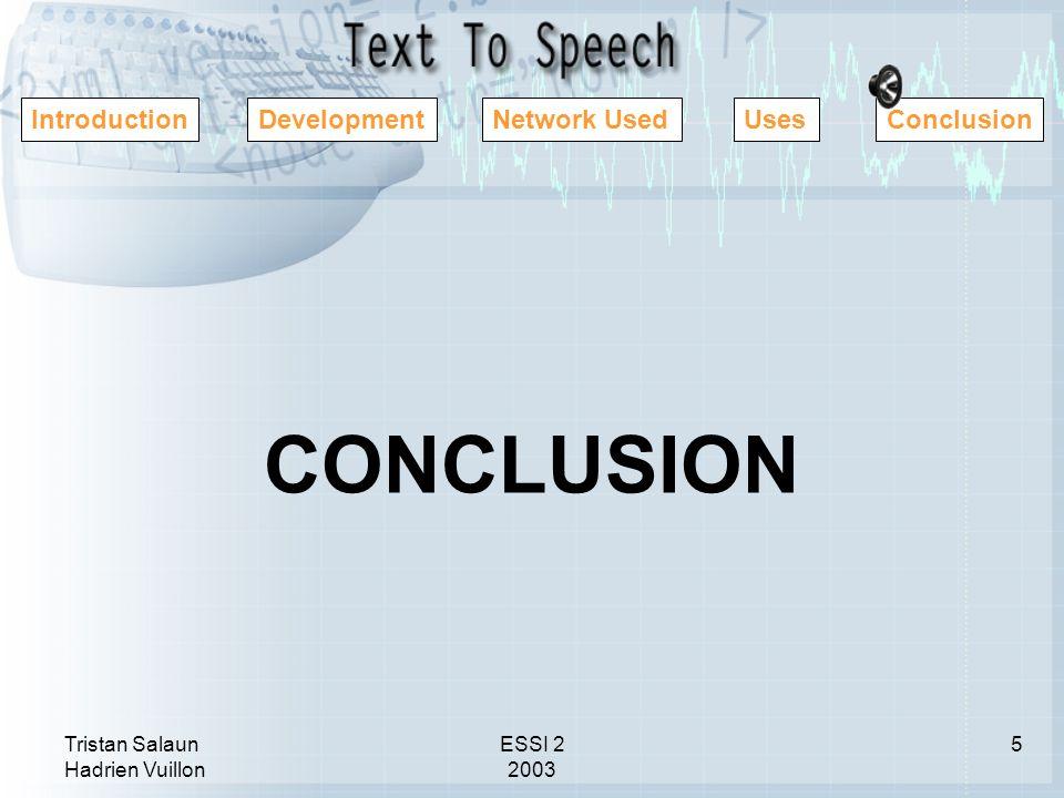 Tristan Salaun Hadrien Vuillon ESSI 2 2003 IntroductionDevelopmentNetwork UsedUsesConclusion CONCLUSION 5