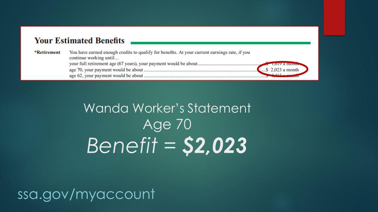 Wanda Worker's Statement Age 70 Benefit = $2,023 ssa.gov/myaccount