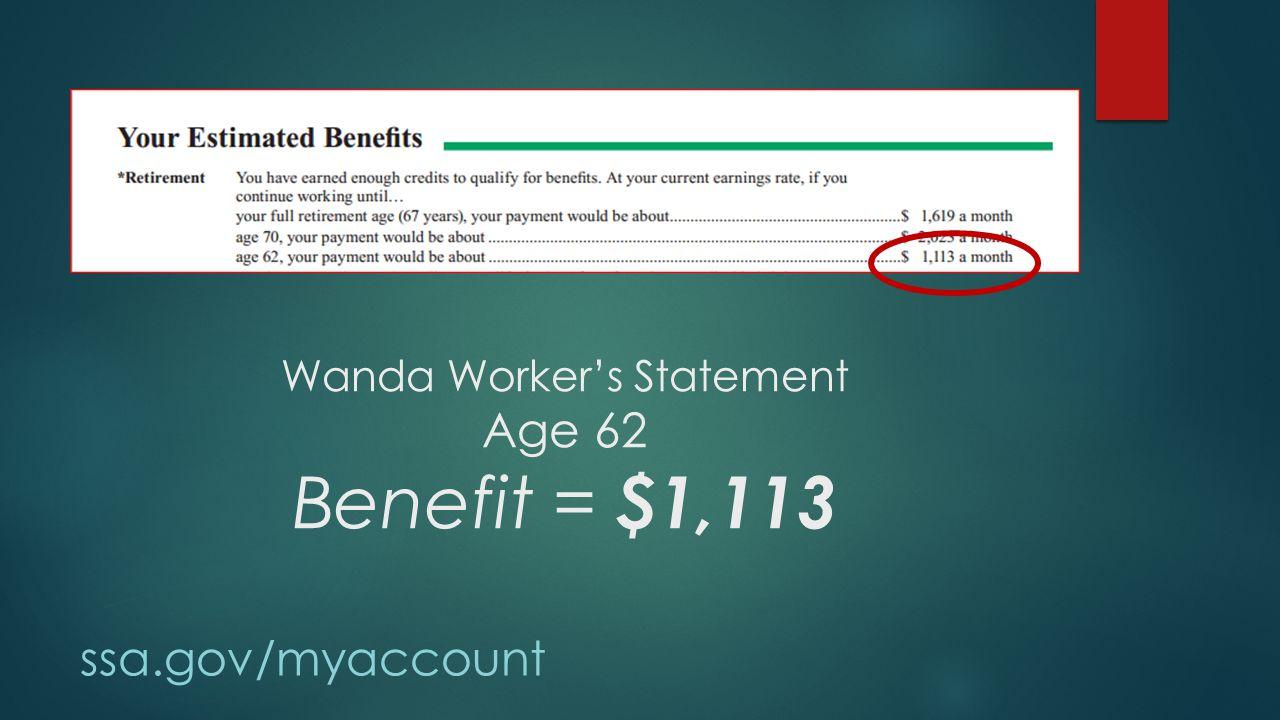 Wanda Worker's Statement Age 62 Benefit = $1,113 ssa.gov/myaccount