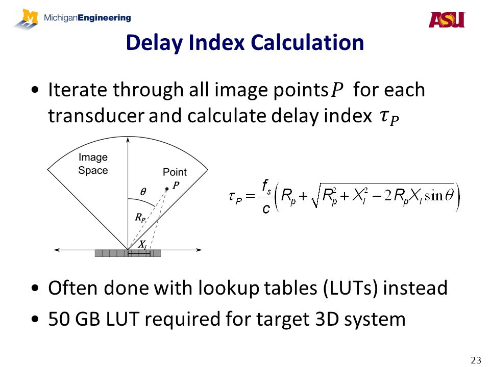 Delay Index Calculation Iterate through all image points for each transducer and calculate delay index Often done with lookup tables (LUTs) instead 50