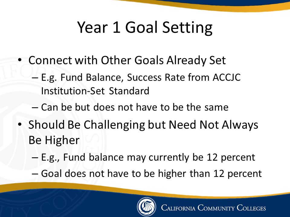 Year 1 Goal Setting Connect with Other Goals Already Set – E.g.