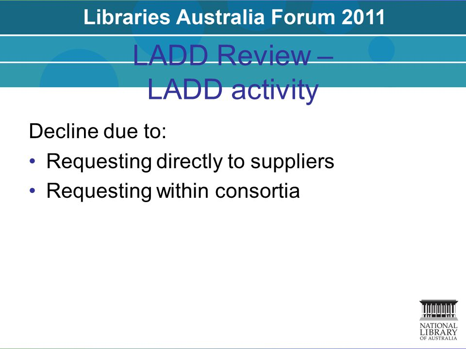 LADD Review – LADD activity Decline due to: Requesting directly to suppliers Requesting within consortia