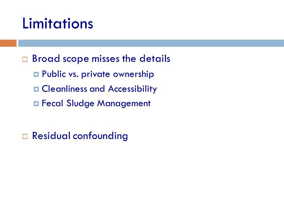 Limitations  Broad scope misses the details  Public vs.