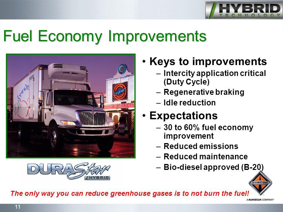 11 Fuel Economy Improvements Keys to improvements –Intercity application critical (Duty Cycle) –Regenerative braking –Idle reduction Expectations –30