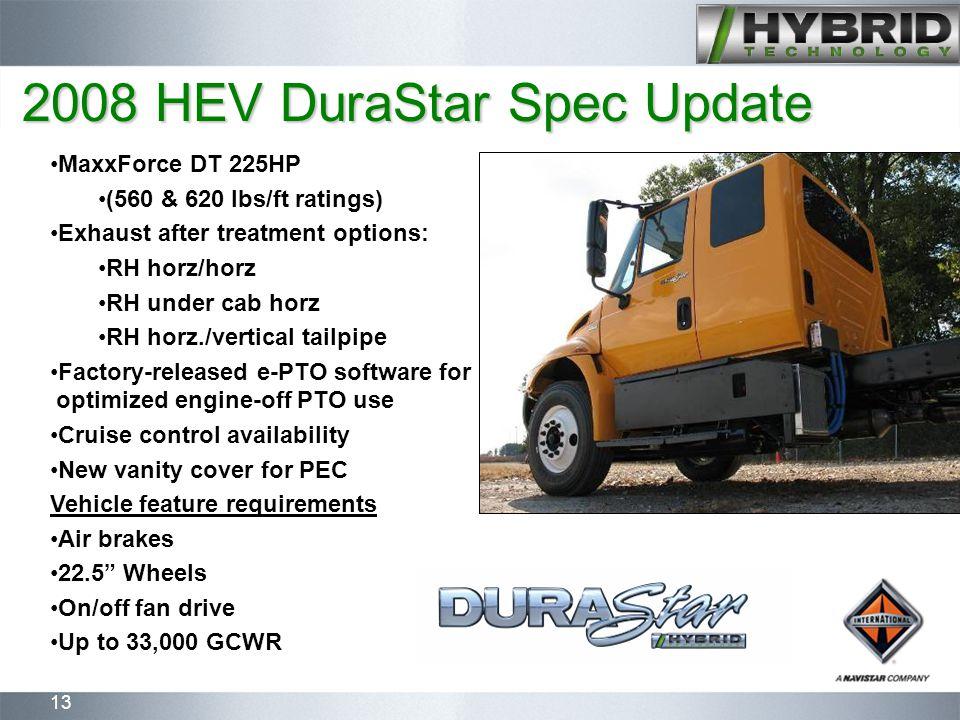 13 MaxxForce DT 225HP (560 & 620 lbs/ft ratings) Exhaust after treatment options: RH horz/horz RH under cab horz RH horz./vertical tailpipe Factory-re
