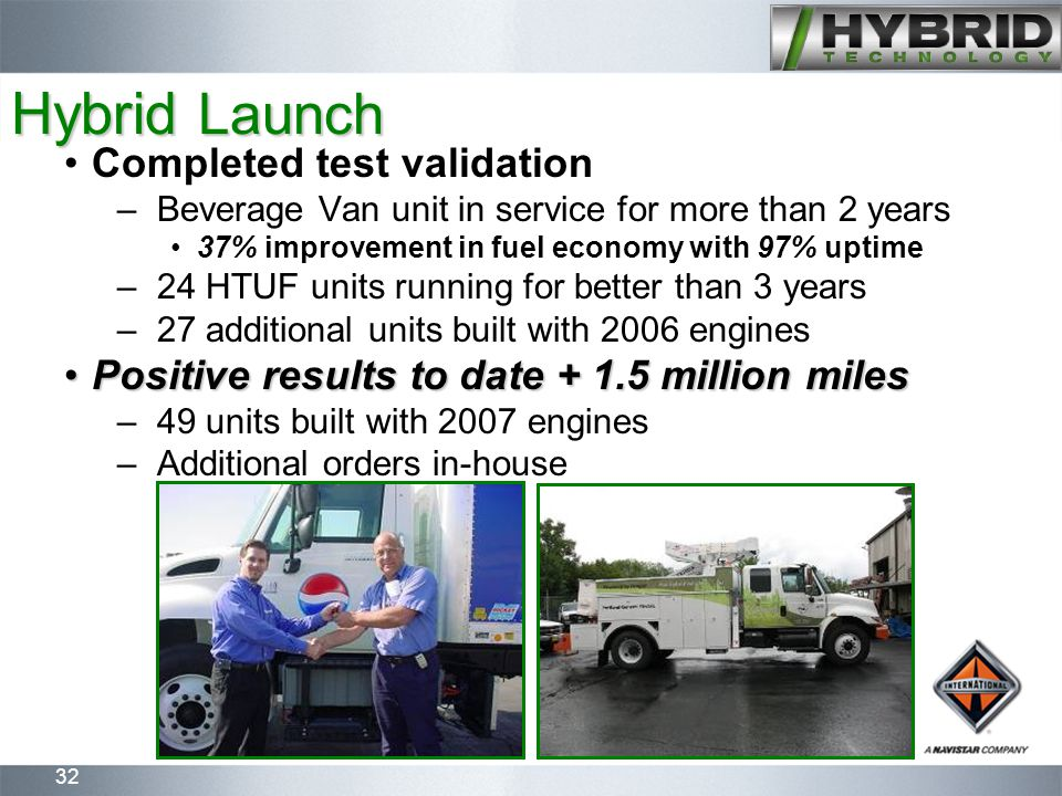 32 Hybrid Launch Completed test validation –Beverage Van unit in service for more than 2 years 37% improvement in fuel economy with 97% uptime –24 HTUF units running for better than 3 years –27 additional units built with 2006 engines Positive results to date + 1.5 million milesPositive results to date + 1.5 million miles –49 units built with 2007 engines –Additional orders in-house