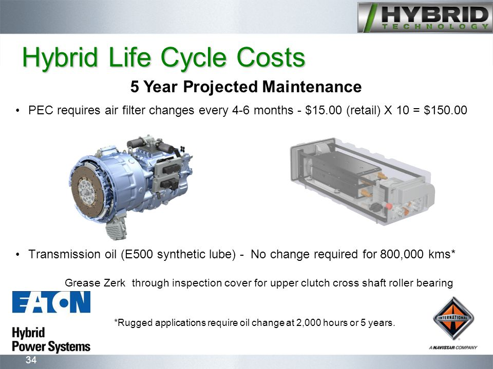 34 Hybrid Life Cycle Costs PEC requires air filter changes every 4-6 months - $15.00 (retail) X 10 = $150.00 Transmission oil (E500 synthetic lube) - No change required for 800,000 kms* Grease Zerk through inspection cover for upper clutch cross shaft roller bearing *Rugged applications require oil change at 2,000 hours or 5 years.