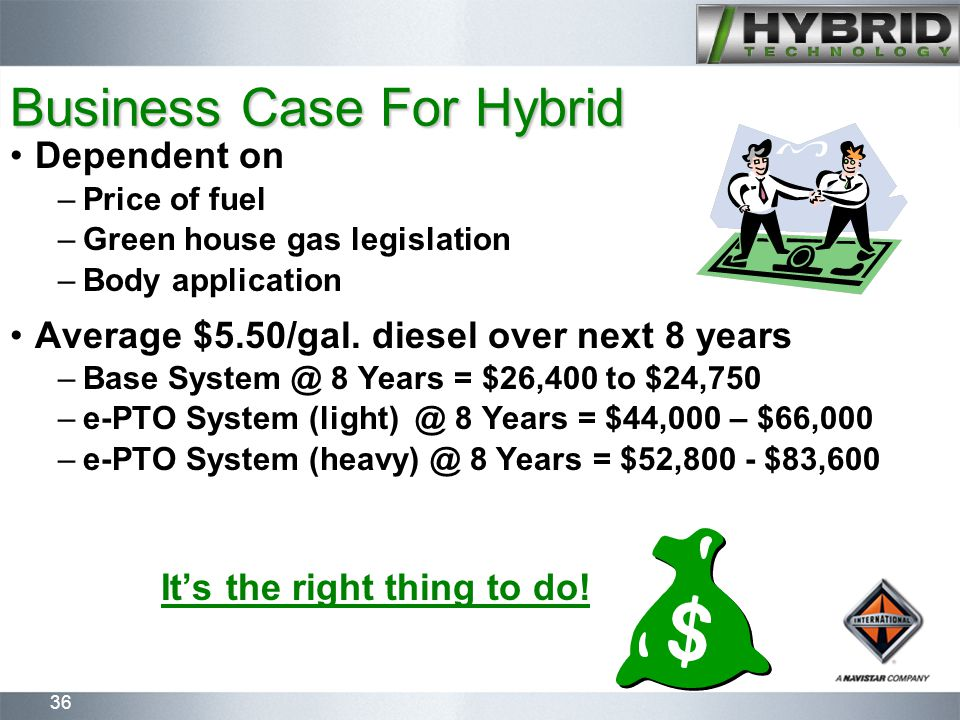 36 Dependent on –Price of fuel –Green house gas legislation –Body application Average $5.50/gal.