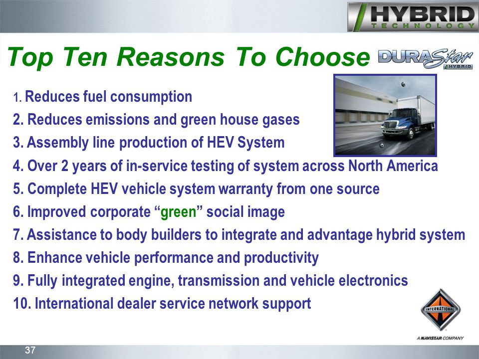37 1. Reduces fuel consumption 2. Reduces emissions and green house gases 3.