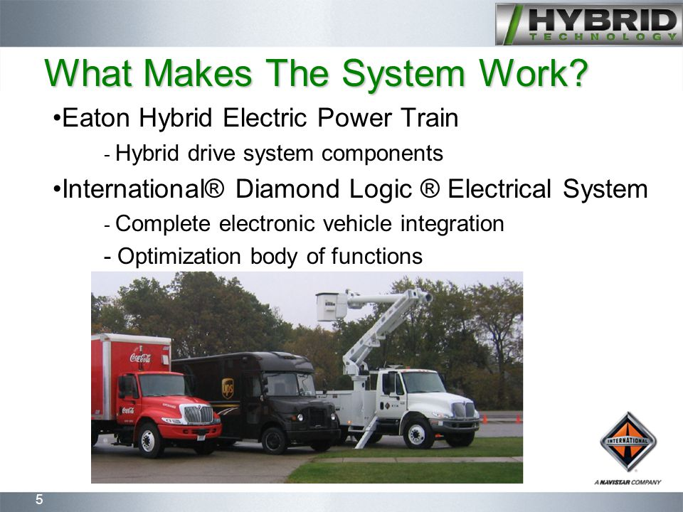 5 What Makes The System Work? Eaton Hybrid Electric Power Train - Hybrid drive system components International® Diamond Logic ® Electrical System - Co