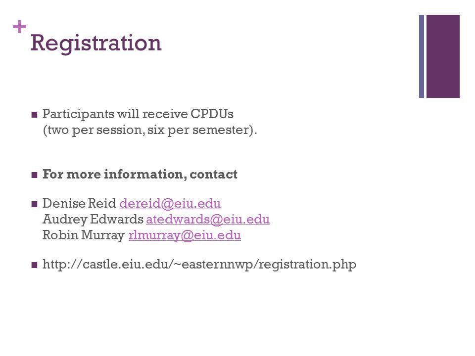 + Registration Participants will receive CPDUs (two per session, six per semester).