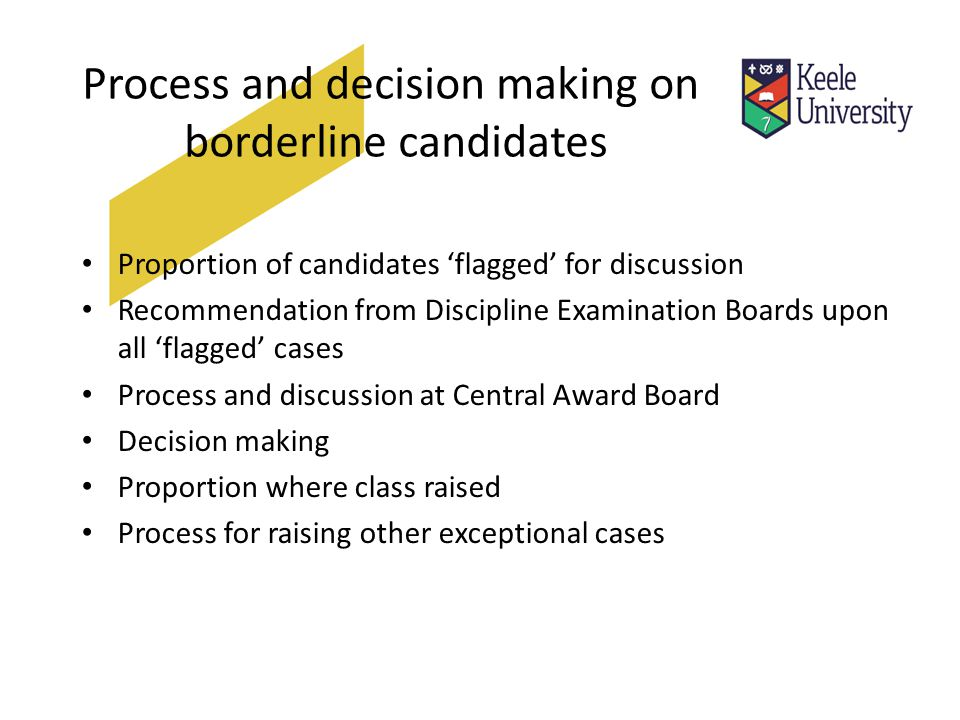 Process and decision making on borderline candidates Proportion of candidates 'flagged' for discussion Recommendation from Discipline Examination Boards upon all 'flagged' cases Process and discussion at Central Award Board Decision making Proportion where class raised Process for raising other exceptional cases