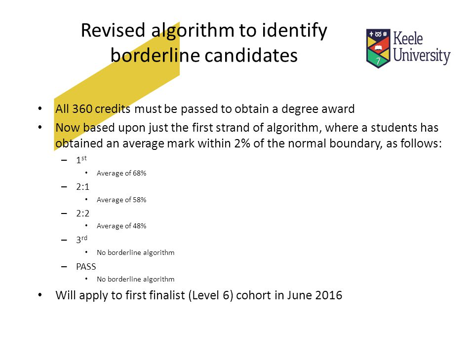 Revised algorithm to identify borderline candidates All 360 credits must be passed to obtain a degree award Now based upon just the first strand of algorithm, where a students has obtained an average mark within 2% of the normal boundary, as follows: – 1 st Average of 68% – 2:1 Average of 58% – 2:2 Average of 48% – 3 rd No borderline algorithm – PASS No borderline algorithm Will apply to first finalist (Level 6) cohort in June 2016