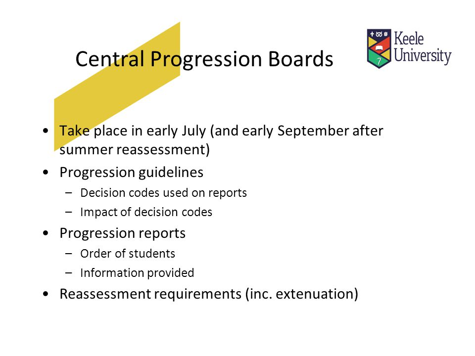 Central Progression Boards Take place in early July (and early September after summer reassessment) Progression guidelines –Decision codes used on reports –Impact of decision codes Progression reports –Order of students –Information provided Reassessment requirements (inc.