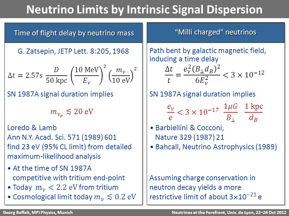 Georg Raffelt, MPI Physics, Munich Neutrinos at the Forefront, Univ. de Lyon, 22–24 Oct 2012 Neutrino Limits by Intrinsic Signal Dispersion Time of fl