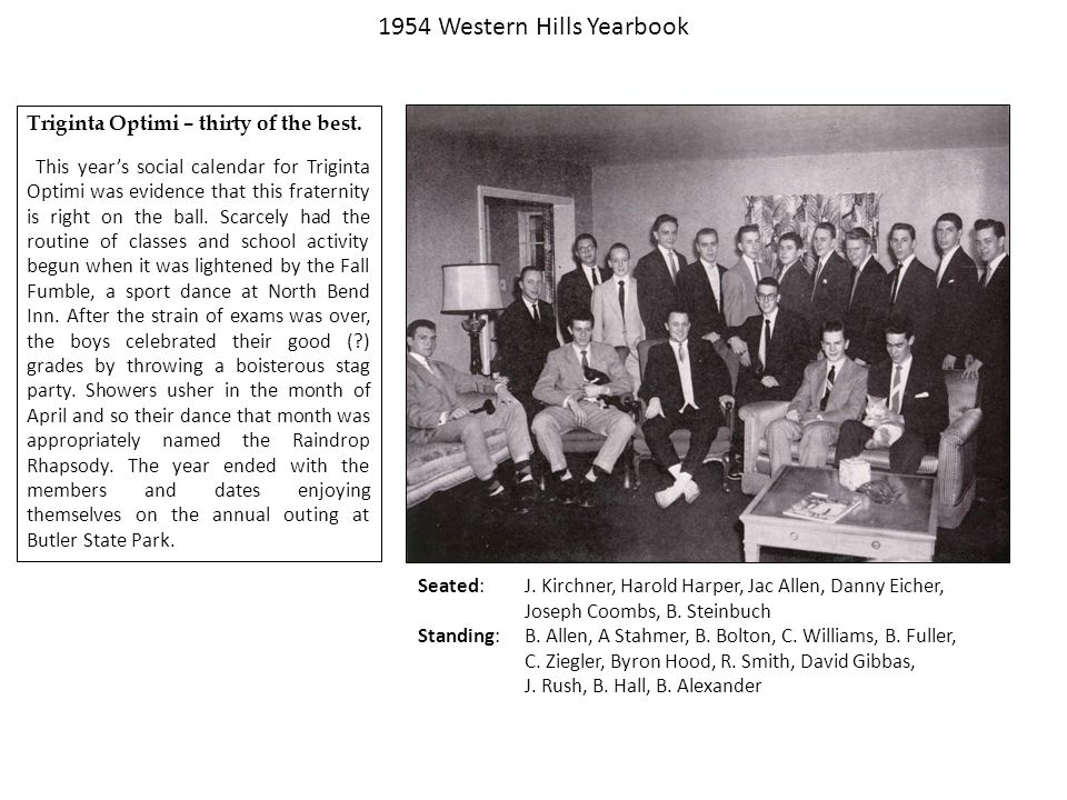 1954 Western Hills Yearbook Triginta Optimi – thirty of the best.