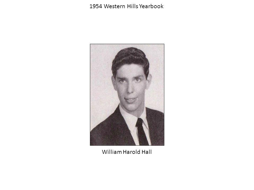 1954 Western Hills Yearbook William Harold Hall