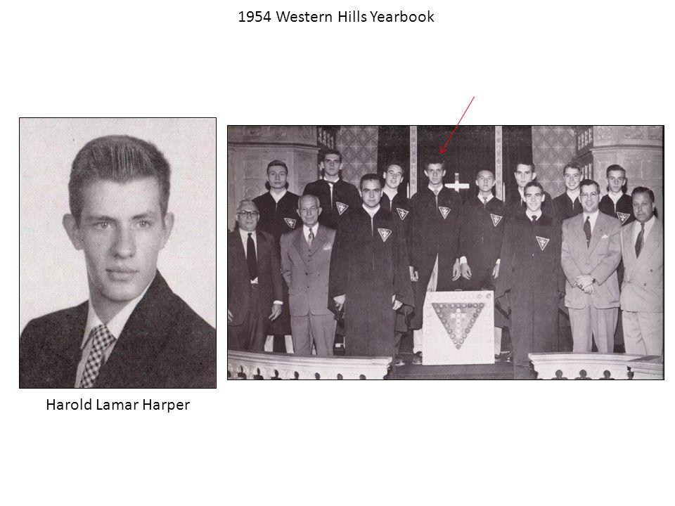 Harold Lamar Harper 1954 Western Hills Yearbook