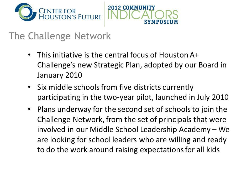 This initiative is the central focus of Houston A+ Challenge's new Strategic Plan, adopted by our Board in January 2010 Six middle schools from five districts currently participating in the two-year pilot, launched in July 2010 Plans underway for the second set of schools to join the Challenge Network, from the set of principals that were involved in our Middle School Leadership Academy – We are looking for school leaders who are willing and ready to do the work around raising expectations for all kids The Challenge Network