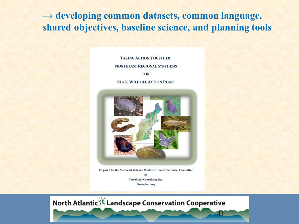 11 → developing common datasets, common language, shared objectives, baseline science, and planning tools