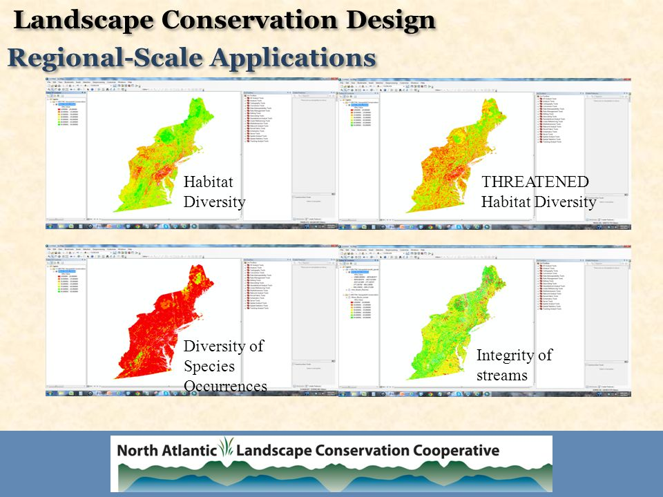 Habitat Diversity THREATENED Habitat Diversity Diversity of Species Occurrences Integrity of streams Landscape Conservation Design Regional-Scale Applications