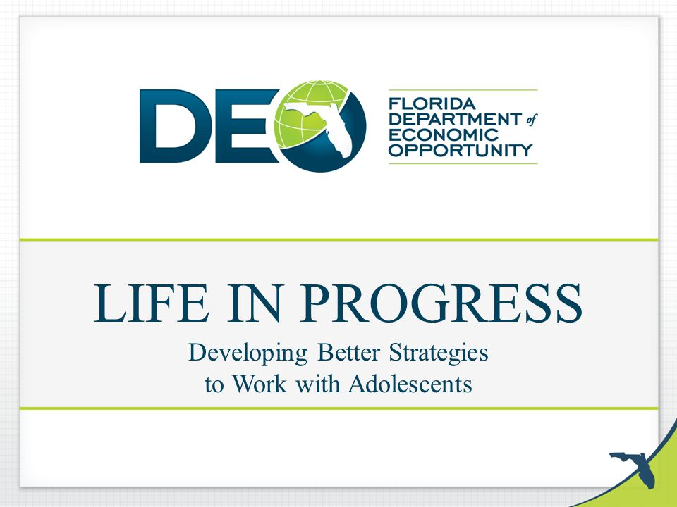 LIFE IN PROGRESS Developing Better Strategies to Work with Adolescents