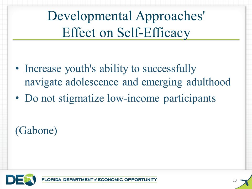 Developmental Approaches Effect on Self-Efficacy Increase youth s ability to successfully navigate adolescence and emerging adulthood Do not stigmatize low-income participants (Gabone) 13