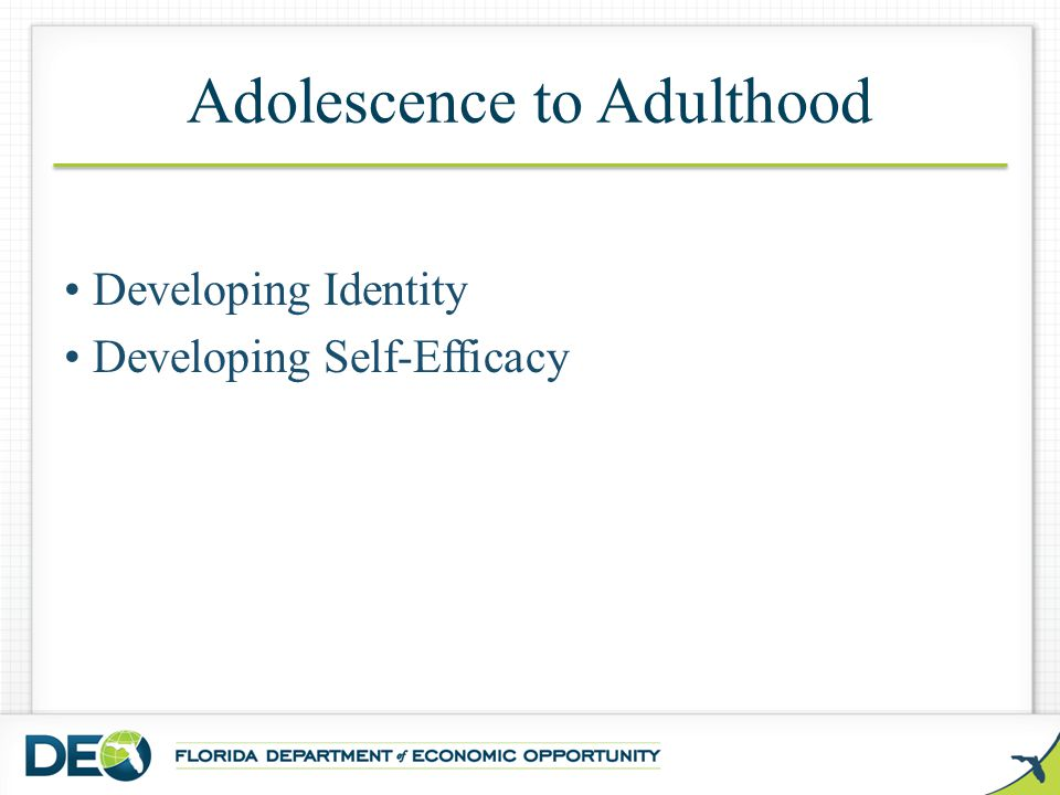 Adolescence to Adulthood Developing Identity Developing Self-Efficacy