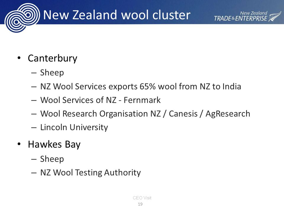 New Zealand wool cluster Canterbury – Sheep – NZ Wool Services exports 65% wool from NZ to India – Wool Services of NZ - Fernmark – Wool Research Organisation NZ / Canesis / AgResearch – Lincoln University Hawkes Bay – Sheep – NZ Wool Testing Authority 19 CEO Visit