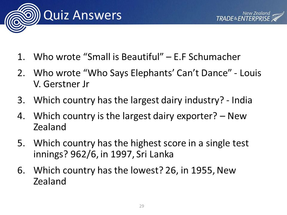 Quiz Answers 1.Who wrote Small is Beautiful – E.F Schumacher 2.Who wrote Who Says Elephants' Can't Dance - Louis V.