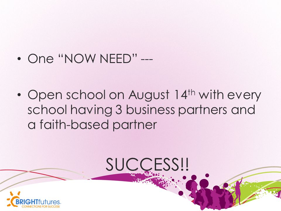 One NOW NEED --- Open school on August 14 th with every school having 3 business partners and a faith-based partner SUCCESS!!