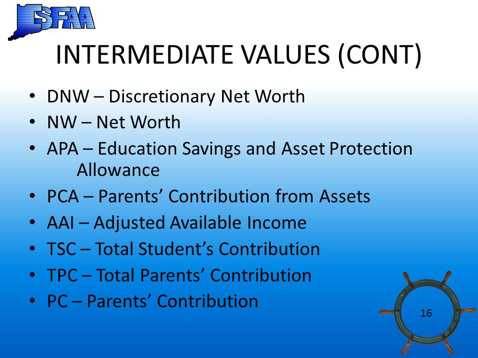 INTERMEDIATE VALUES (CONT) DNW – Discretionary Net Worth NW – Net Worth APA – Education Savings and Asset Protection Allowance PCA – Parents' Contribution from Assets AAI – Adjusted Available Income TSC – Total Student's Contribution TPC – Total Parents' Contribution PC – Parents' Contribution 16