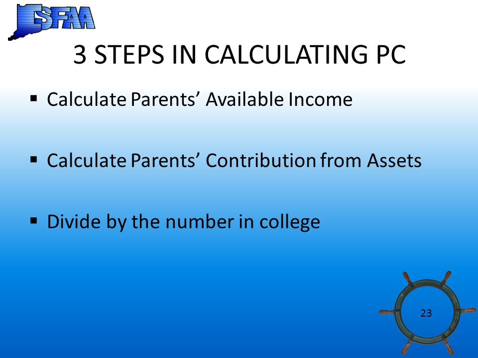3 STEPS IN CALCULATING PC  Calculate Parents' Available Income  Calculate Parents' Contribution from Assets  Divide by the number in college 23