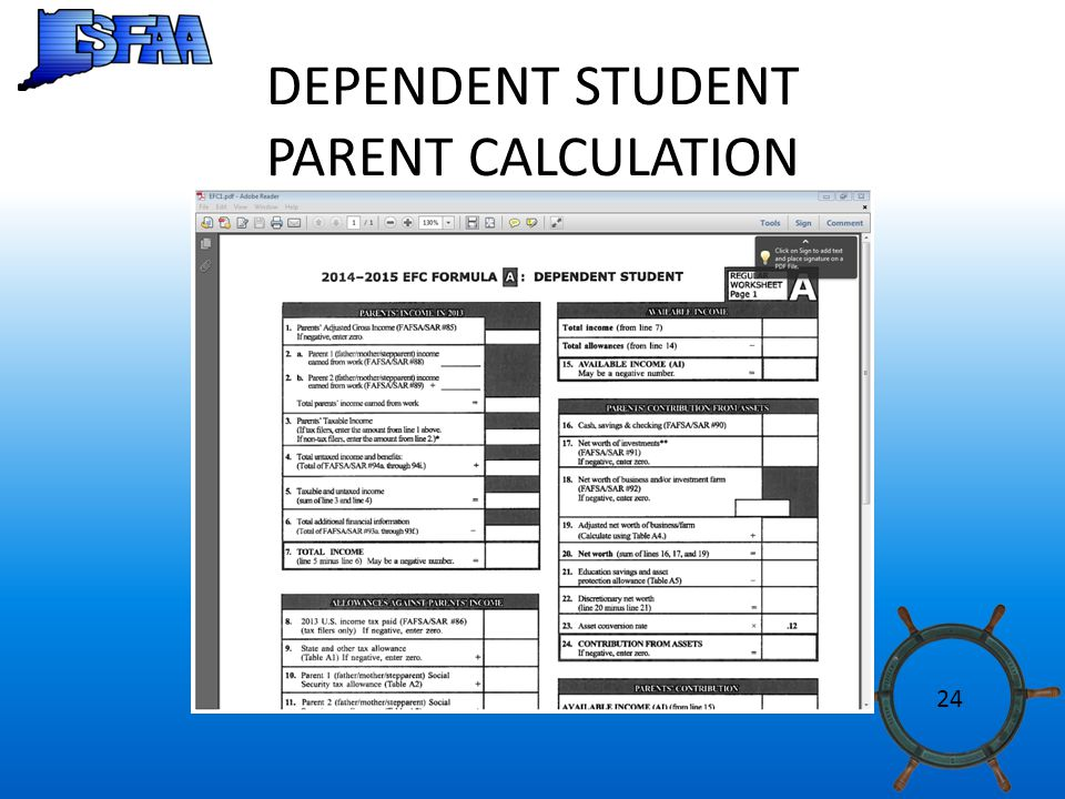 DEPENDENT STUDENT PARENT CALCULATION 24