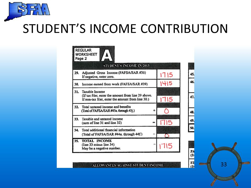 STUDENT'S INCOME CONTRIBUTION 33