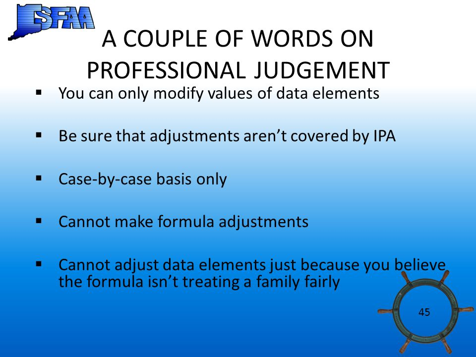 A COUPLE OF WORDS ON PROFESSIONAL JUDGEMENT  You can only modify values of data elements  Be sure that adjustments aren't covered by IPA  Case-by-case basis only  Cannot make formula adjustments  Cannot adjust data elements just because you believe the formula isn't treating a family fairly 45