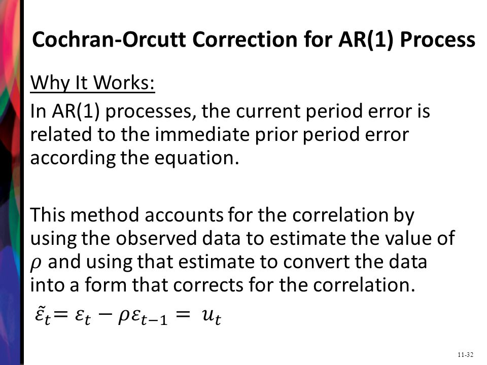 11-32 Cochran-Orcutt Correction for AR(1) Process
