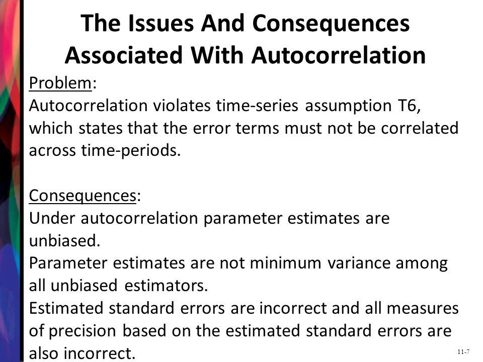 11-38 Newey-West Standard Errors The preferred method to correct for autocorrelation is to use Newey-West autocorrelation and heteroskedastic consistent standard errors.