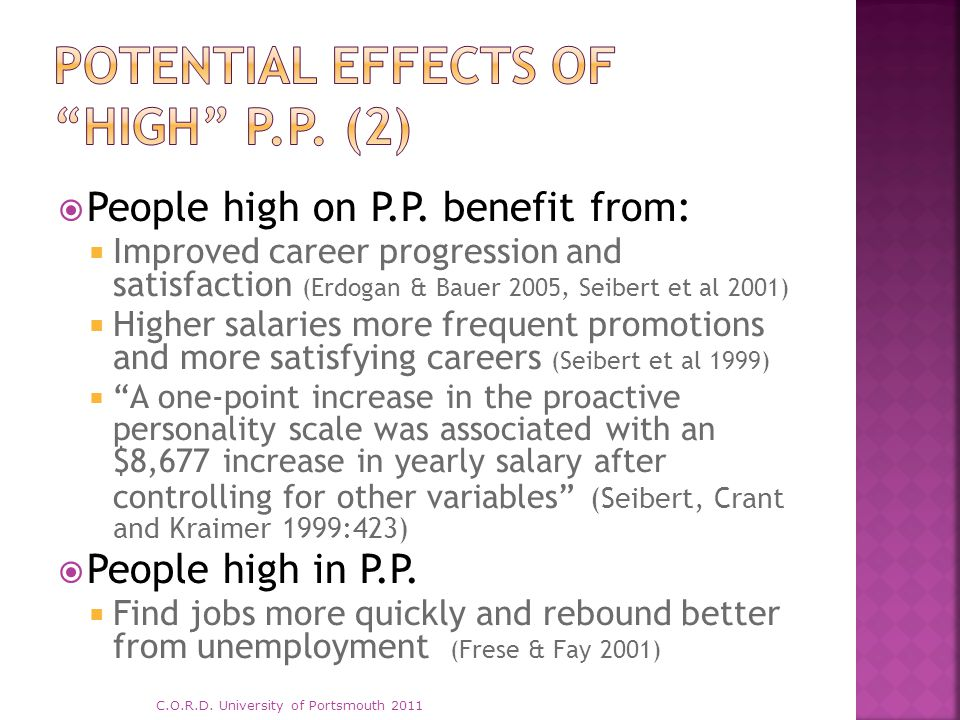  People high on P.P. benefit from:  Improved career progression and satisfaction (Erdogan & Bauer 2005, Seibert et al 2001)  Higher salaries more f