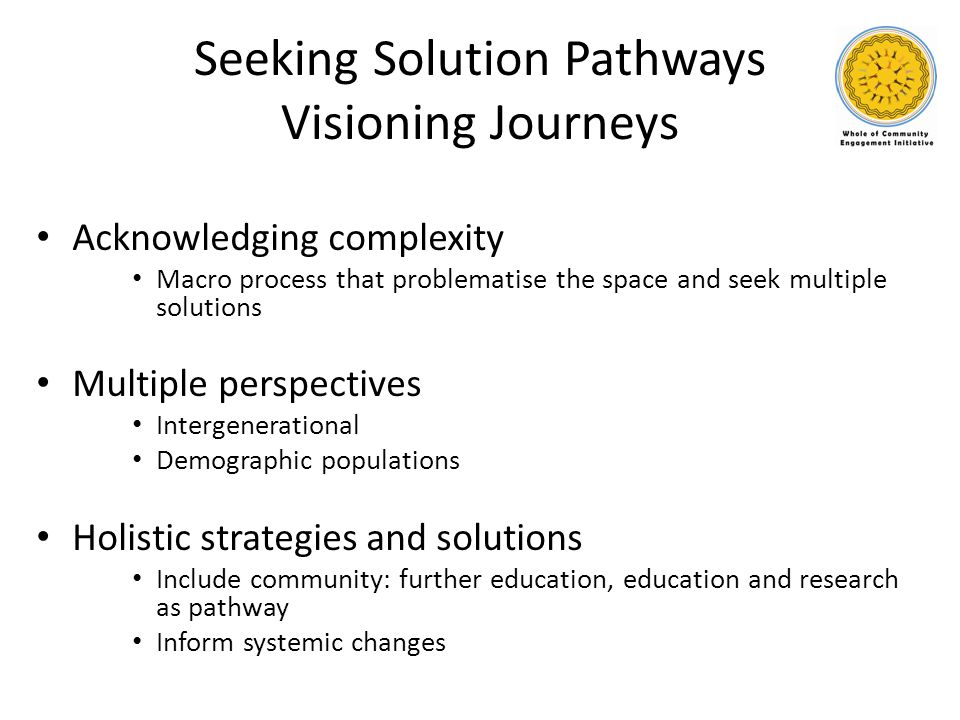 Seeking Solution Pathways Visioning Journeys Acknowledging complexity Macro process that problematise the space and seek multiple solutions Multiple p