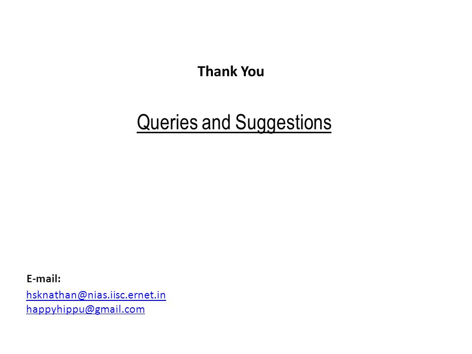 Thank You hsknathan@nias.iisc.ernet.in happyhippu@gmail.com E-mail: Queries and Suggestions