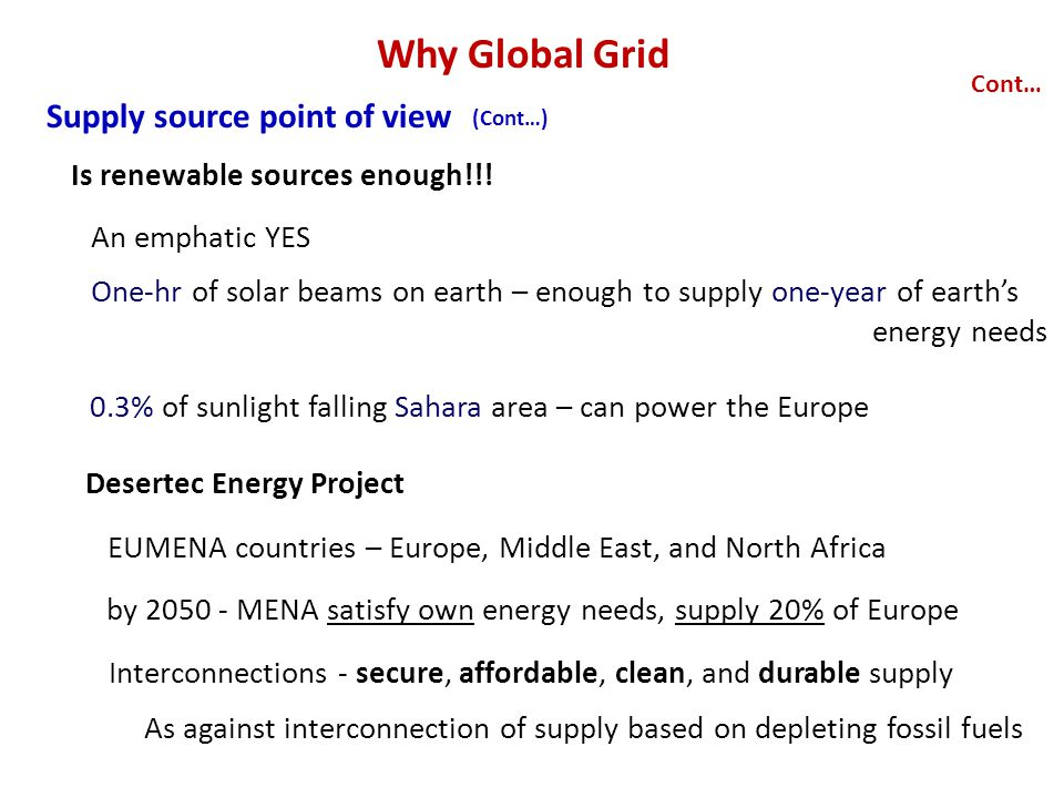 Why Global Grid Supply source point of view Cont… An emphatic YES Is renewable sources enough!!.