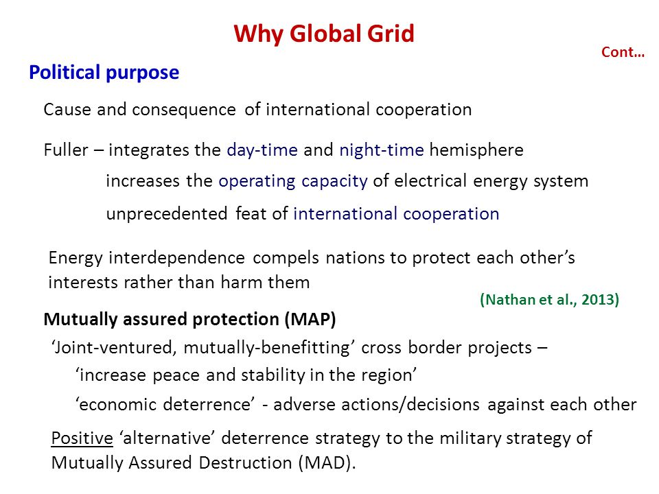 Why Global Grid Political purpose Cont… Cause and consequence of international cooperation Fuller – integrates the day-time and night-time hemisphere Energy interdependence compels nations to protect each other's interests rather than harm them (Nathan et al., 2013) increases the operating capacity of electrical energy system unprecedented feat of international cooperation Mutually assured protection (MAP) Positive 'alternative' deterrence strategy to the military strategy of Mutually Assured Destruction (MAD).