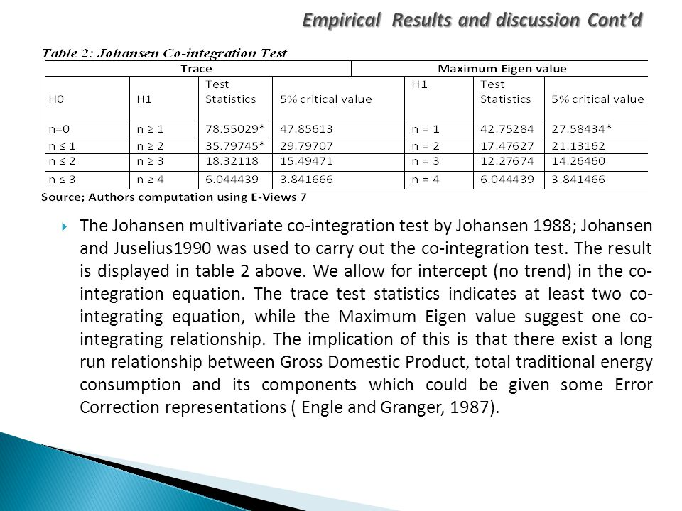  The Johansen multivariate co-integration test by Johansen 1988; Johansen and Juselius1990 was used to carry out the co-integration test. The result