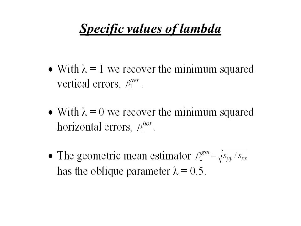 Specific values of lambda
