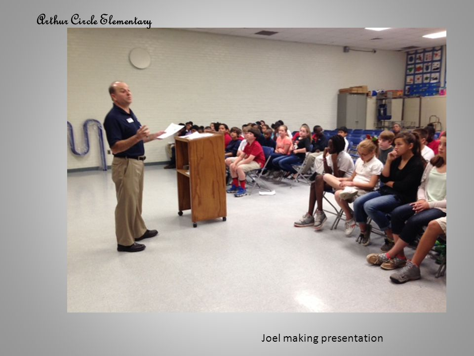 Arthur Circle Elementary Joel making presentation