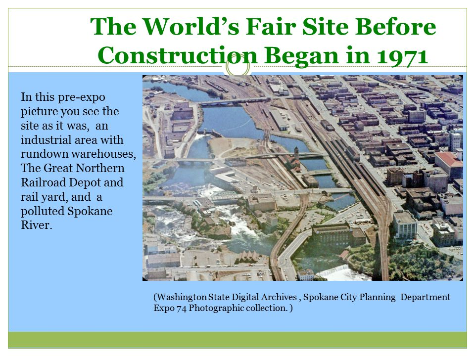 The World's Fair Site Before Construction Began in 1971 (Washington State Digital Archives, Spokane City Planning Department Expo 74 Photographic coll
