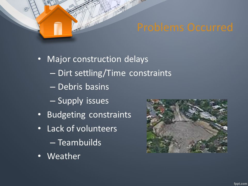 Problems Occurred Major construction delays – Dirt settling/Time constraints – Debris basins – Supply issues Budgeting constraints Lack of volunteers – Teambuilds Weather