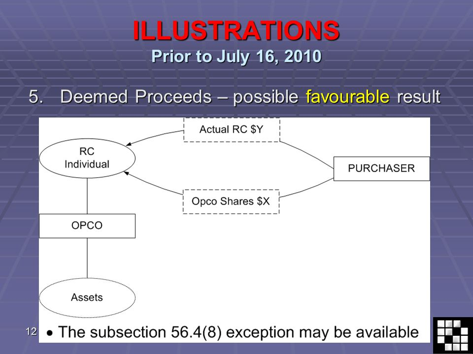 12 ILLUSTRATIONS Prior to July 16, 2010 5.Deemed Proceeds – possible favourable result