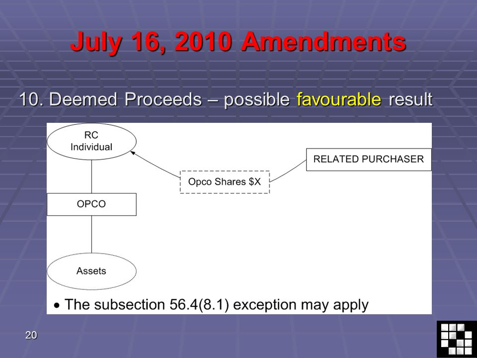 20 July 16, 2010 Amendments 10. Deemed Proceeds – possible favourable result